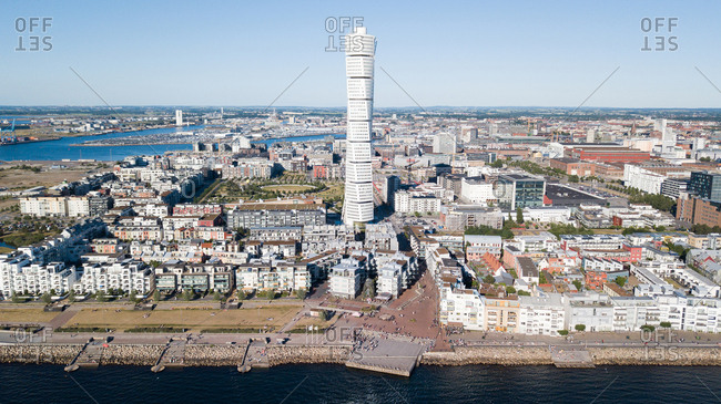 High angle cityscape on sunny afternoon, Malmo, Sweden
