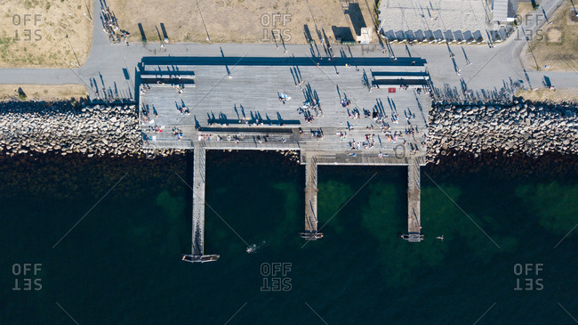 Crowd gathered at harbor from above, Malmo, Sweden