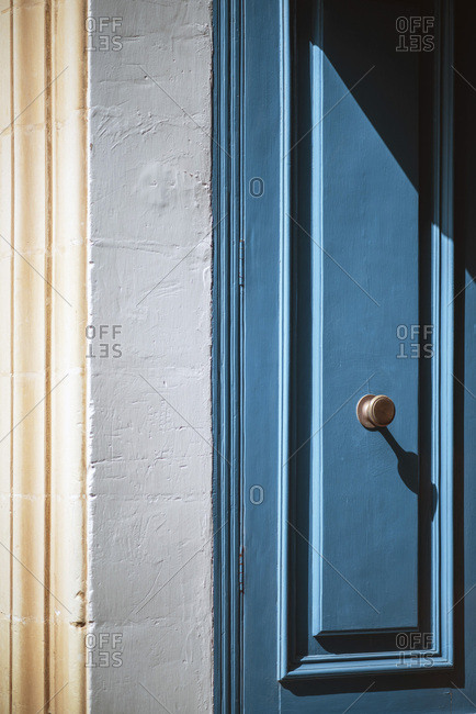 Cropped detail of old painted doorway