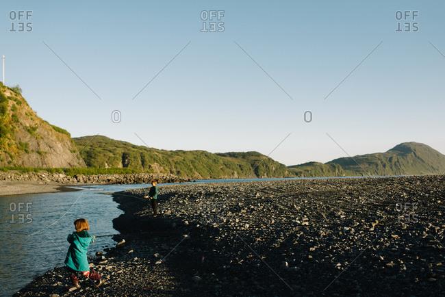 Kids fishing on an Alaskan river