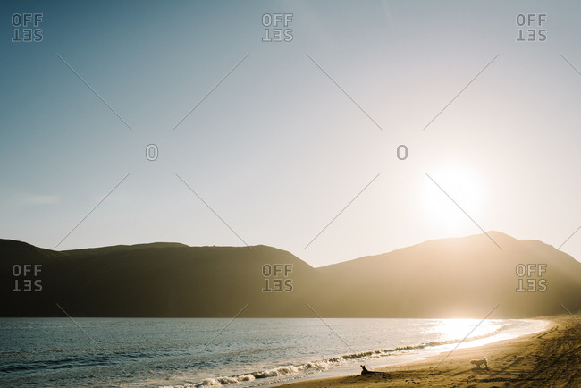Sun setting the Alaskan coast