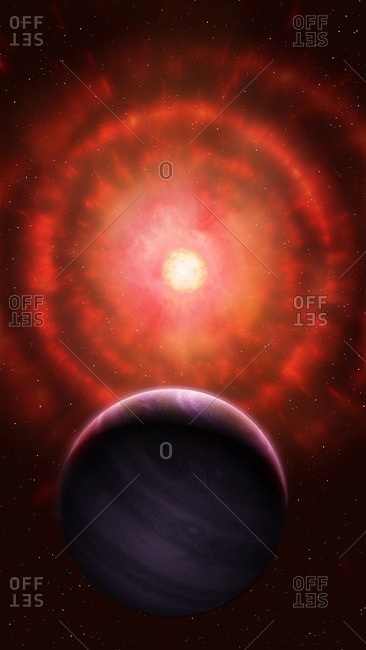 Illustration of a red giant star shedding its outer layers