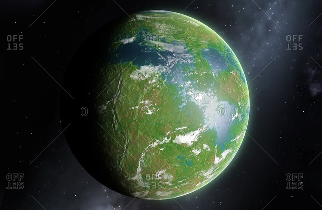 Illustration of the planet Venus as it may appear in the future after terraforming