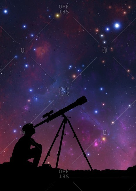 Illustration of a boy looking through a telescope, seen in silhouette against the star clouds of the Milky Way