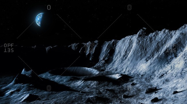 Illustration of the lunar landscape seen from its surface, with Earth in the sky