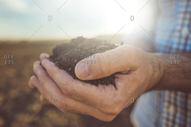 Farmer holding pile of soil