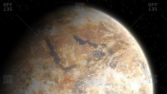 Artwork of a possible future Earth, its atmosphere riddled with dust and pollution, its surface dry