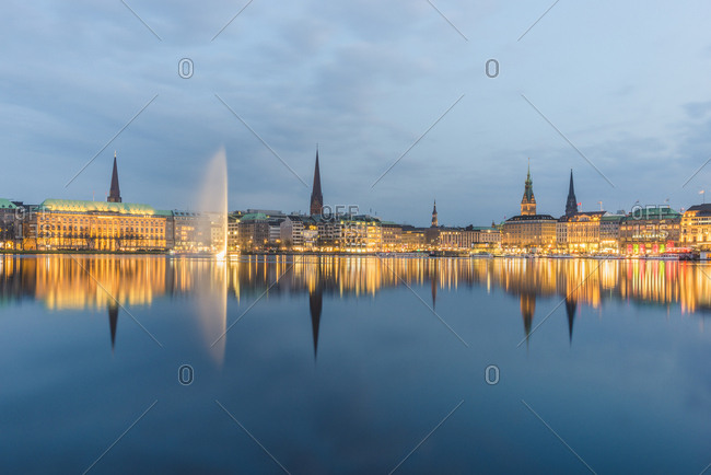 Hamburg, Germany - April 16, 2018: Inner Alster lake- city center in the evening