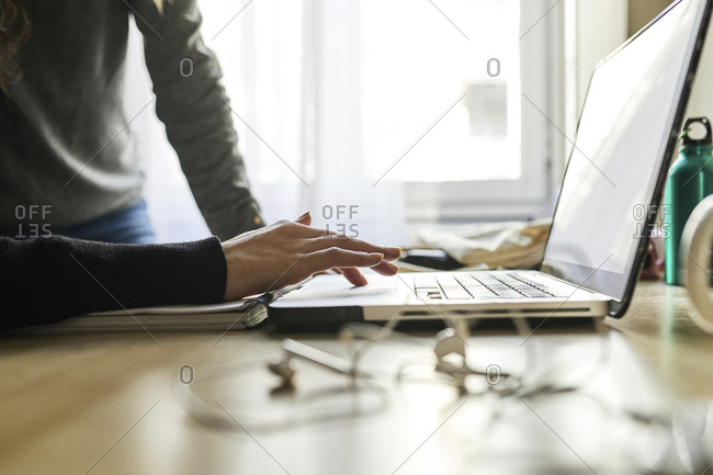 Close-up of two women using laptop at desk at home
