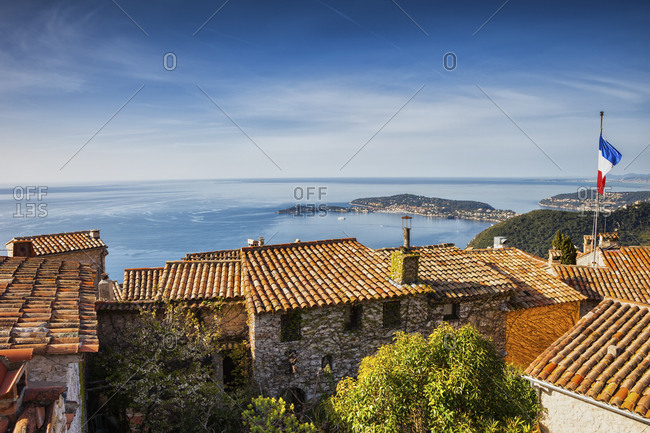France- Alpes Maritimes- French Riviera- Cote d'Azur- Eze medieval village houses- view to Mediterranean Sea