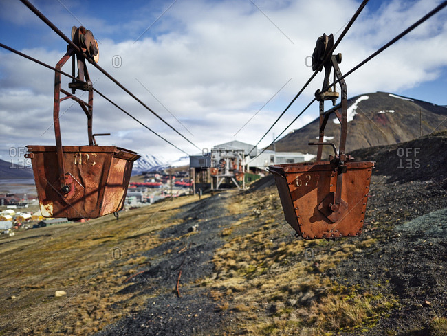Norway- Spitsbergen- Longyearbyen- old remains of coal mine- historic ropeway conveyor