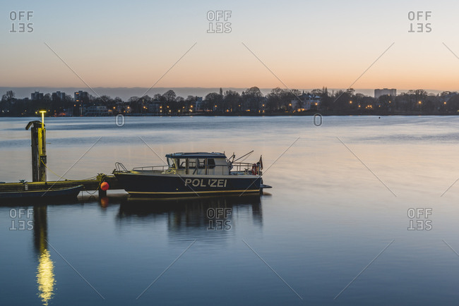 Germany- Hamburg- Outer Alster Lake- mooring area- police boat in the morning