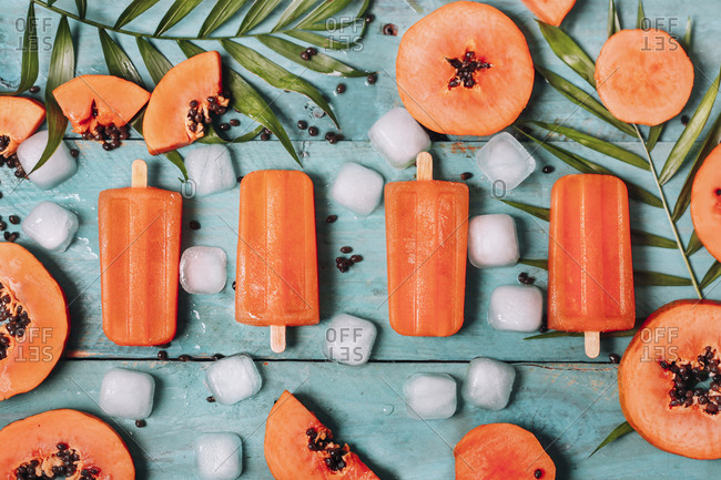 Homemade papaya ice lollies
