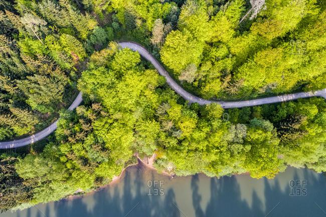 Germany- Baden-Wuerttemberg- Schurwald- Aerial view of Herrenbach reservoir