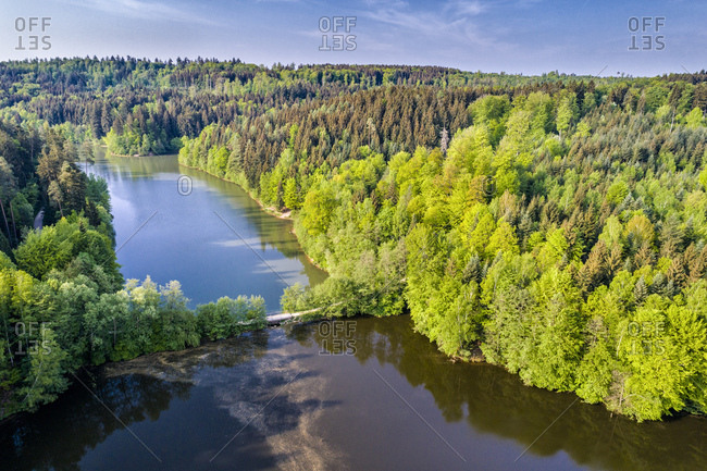 Germany- Baden-Wuerttemberg- Schurwald- Aerial view of Herrenbach reservoir