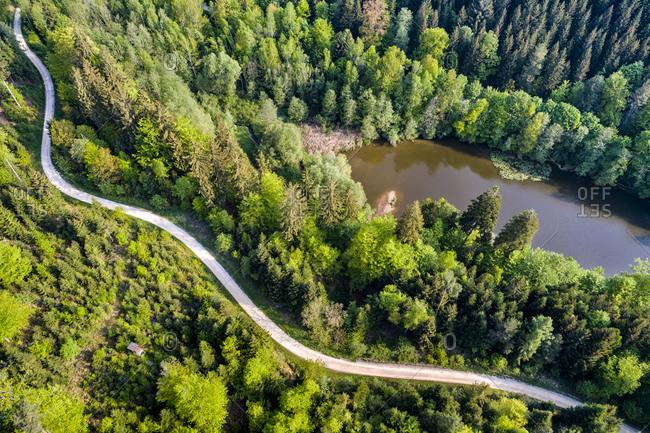 Germany- Baden-Wuerttemberg- Schurwald- Aerial view of road at Herrenbach reservoir