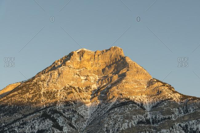 Canada- Alberta- Banff National Park- mountaintop in sunlight