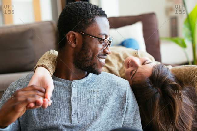 Young couple in love relaxing at home