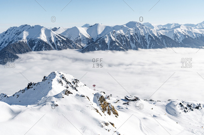 Gastein, Austria - February 24, 2018. Overlooking the Schlossalm Ski Area in the Gastein valley of the Salzburgerland region.