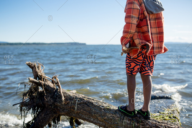 Boy standing on a log in the bay