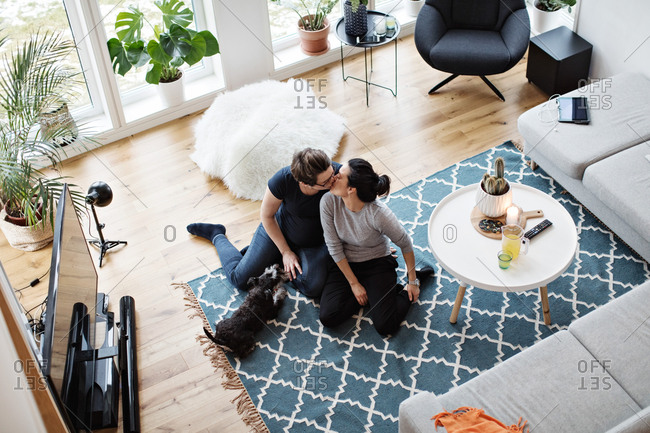 High angle view of lesbian couple kissing while sitting by dog on carpet in living room