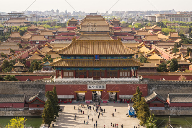 Beijing, China - April 2, 2016: View over Forbidden City