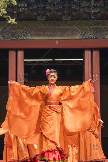 Beijing, China - April 5, 2016: Traditional Chinese theatre performance in temple
