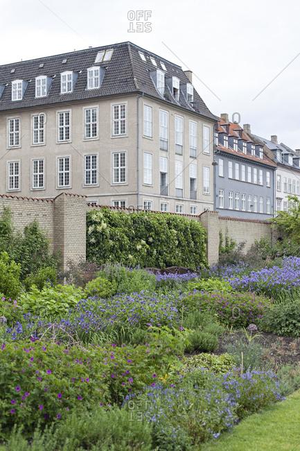 Denmark housing complex with blooming garden