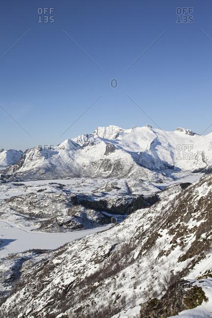 Snowy view from Tjeldbergtind in Lofoten