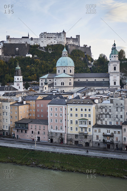 Austrian cityscape during autumn season, Salzburg, Austria