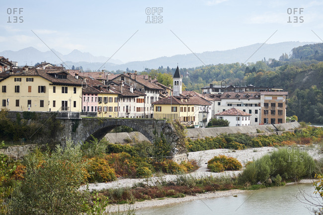 Cityscape of northern italian village, Belluno, Italy