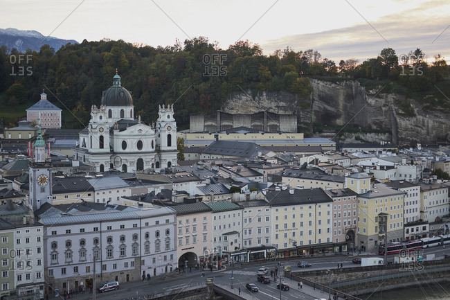 Salzburg, Austria - October 7, 2017: Austrian cityscape on overcast day