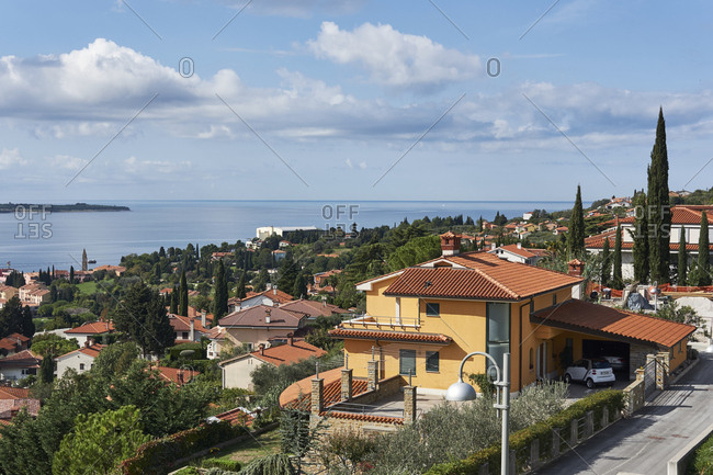 Piran, Slovenia - October 9, 2017: Small resort town on the Slovenian Adriatic coast