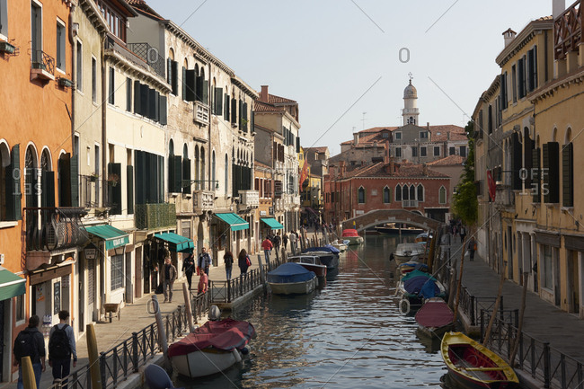 Venice, Italy - October 10, 2017: Streets and canal