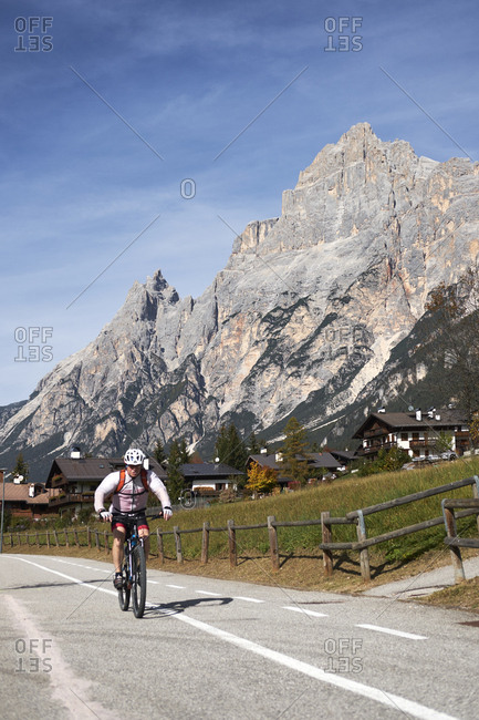 Vodo di Cadore, Italy - October 13, 2017: Mountain bike rider in the Italian dolomites