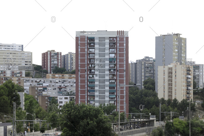 Urban landscape in Ciutat Meridiana, an area of the city of Barcelona of lower middle class residences