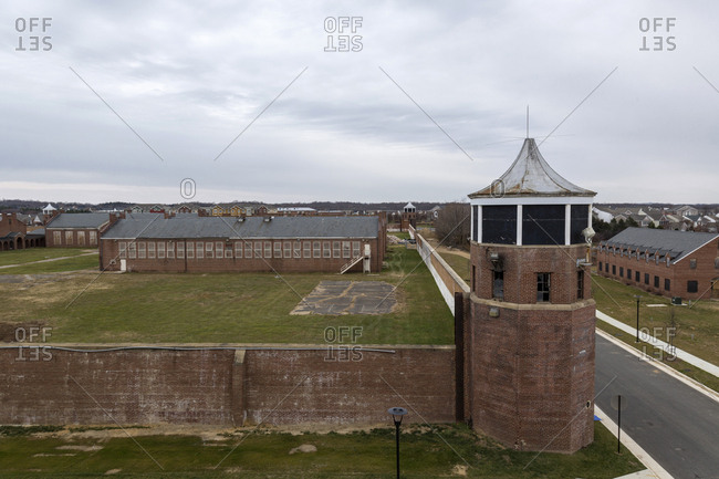 Lorton, Virginia - December 12, 2017: Elevated view over wall of the grounds of former Lorton prison