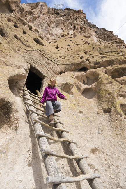 Little girl visiting Bandelier National Monument, White Rock, New Mexico, USA