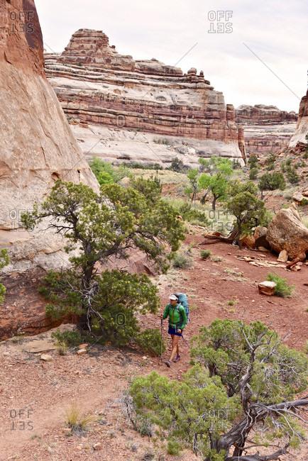 Woman hiking in Canyonlands National Park, Moab, Utah, USA