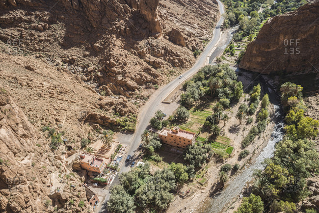 View of road leading to Todra Gorge, Atlas Mountains, Morocco