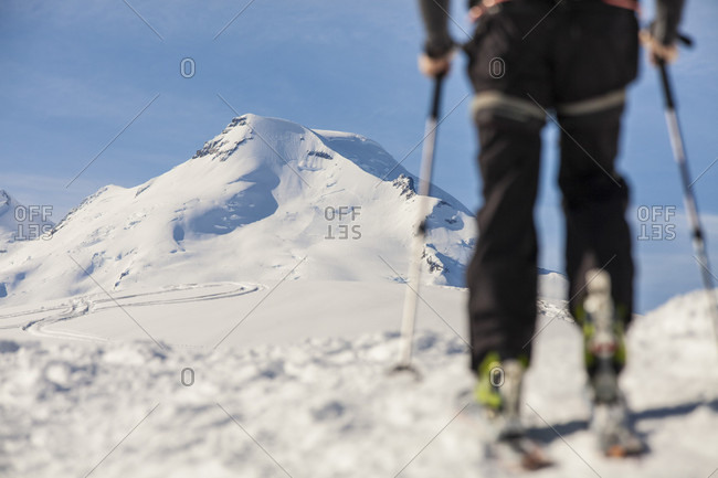 Man cross-country skiing in North Cascades National Park, Washington State, USA
