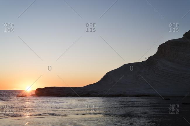 Scala dei Turchi cliff at sunset, Sicily, Italy