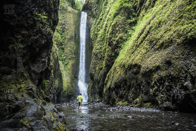 The Ononta falls gorge in the Columbia  Gorge area of Oregon