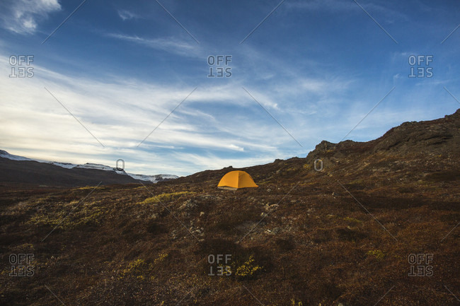 Camping tent on Disko Island, Greenland