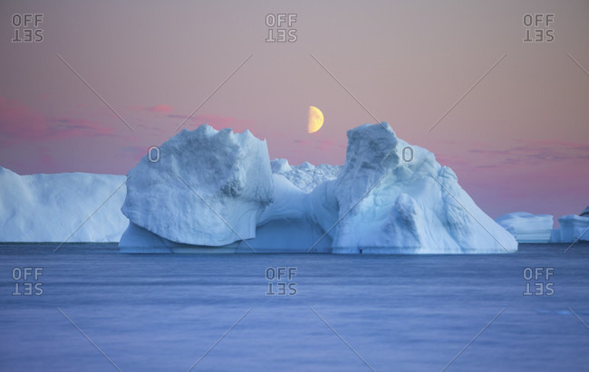 Icebergs at sunset, Qeqertarsuaq, Disko Island, Greenland
