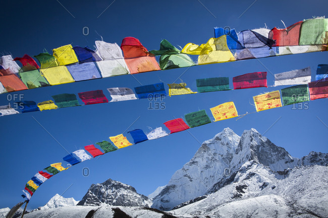 Prayer flags above Ama Dablam, Himalayas, Khumbu Valley, Nepal