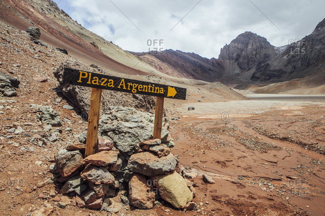 Plaza Argentina Base Camp sign on Aconcagua, Mendoza, Argentina