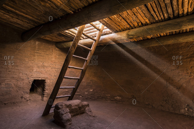 Interior of kiva house, Pecos, New Mexico, USA