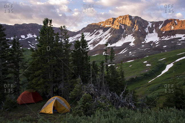 Camping in Maroon Bells Snowmass Wilderness near Aspen, Colorado, USA