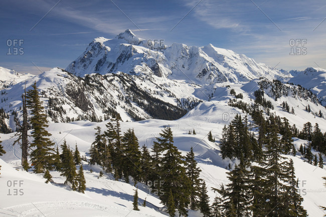 Scenery of Mount Shuksan in winter, North Cascades National Park, Washington State, USA
